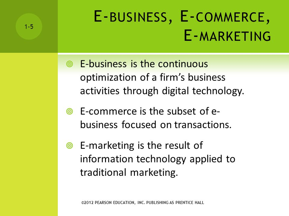 E-business, E-commerce, E-marketing