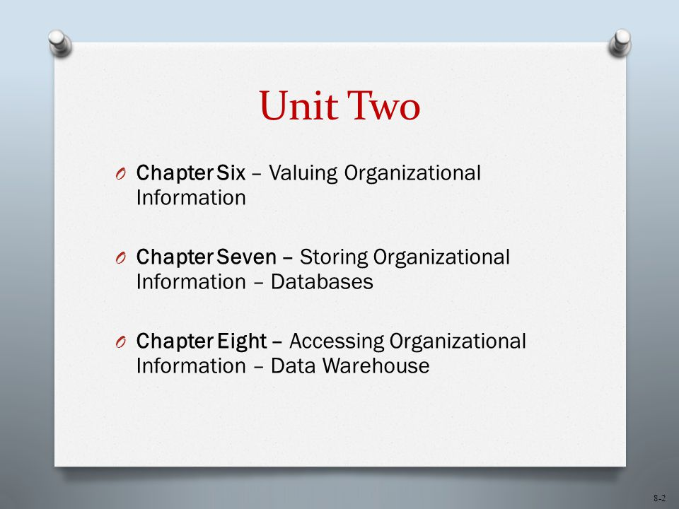 Unit Two Chapter Six – Valuing Organizational Information