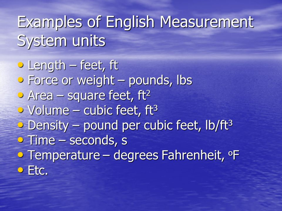 Examples of English Measurement System units