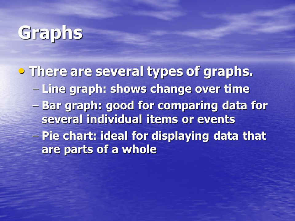 Graphs There are several types of graphs.