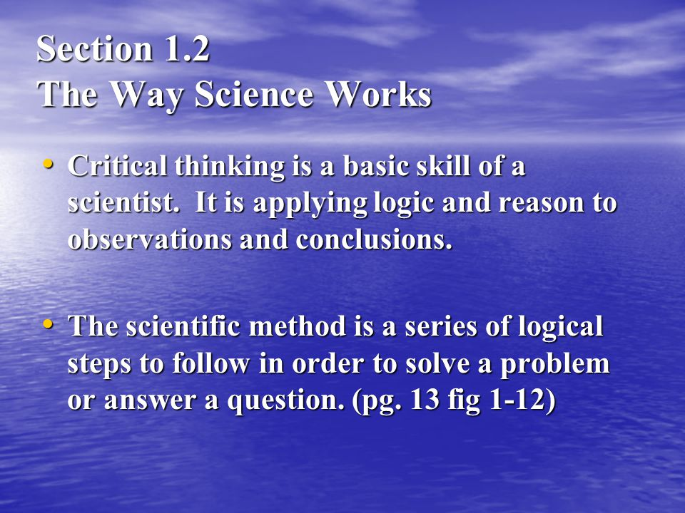 Section 1.2 The Way Science Works
