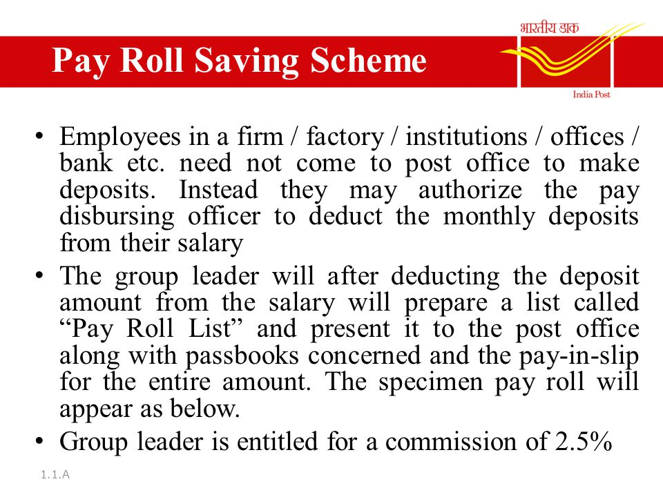 deposit in post office savings scheme