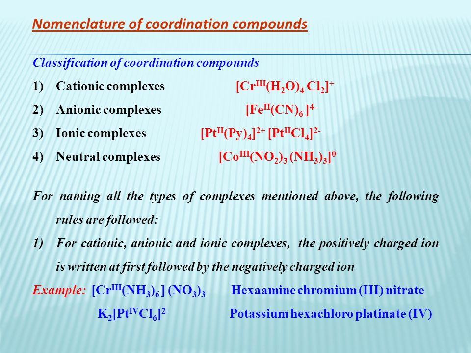 geometries of coordination compounds Coordination number, ligands, and geometries  learning objective  in coordination chemistry, the coordination number is the number of ligands attached to the central ion (more specifically, the number of donor atoms) coordination numbers are normally between two and nine the number of bonds depends on the size, charge, and electron.