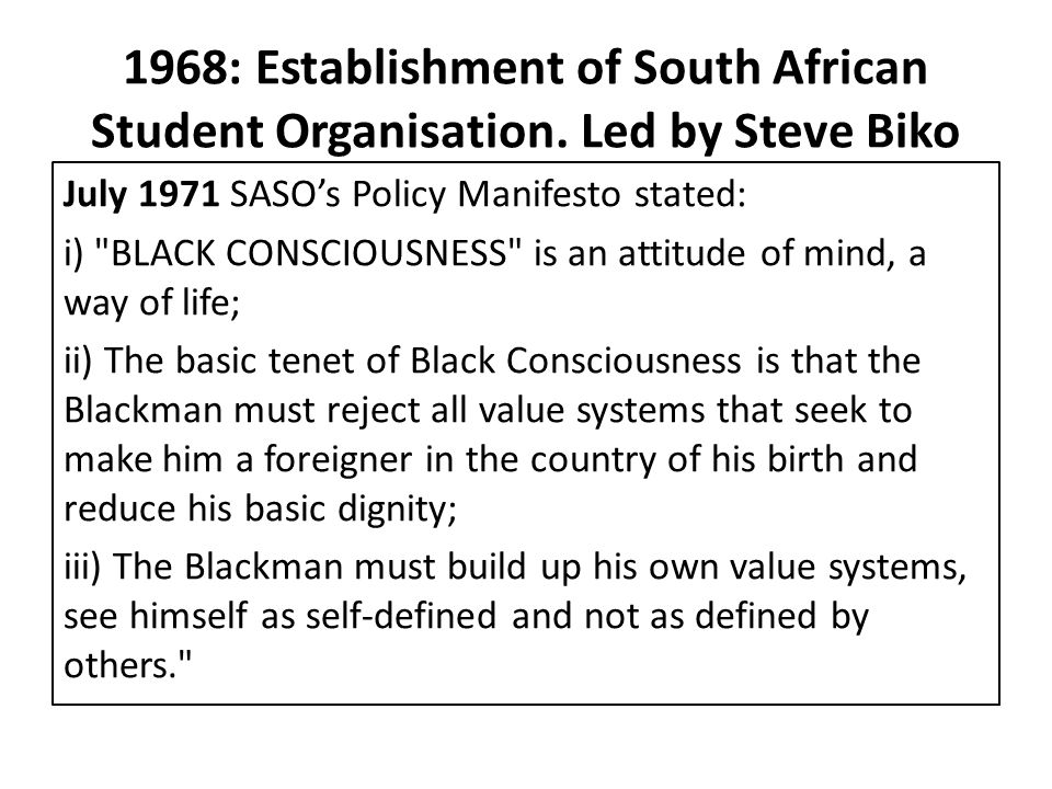 1968: Establishment of South African Student Organisation