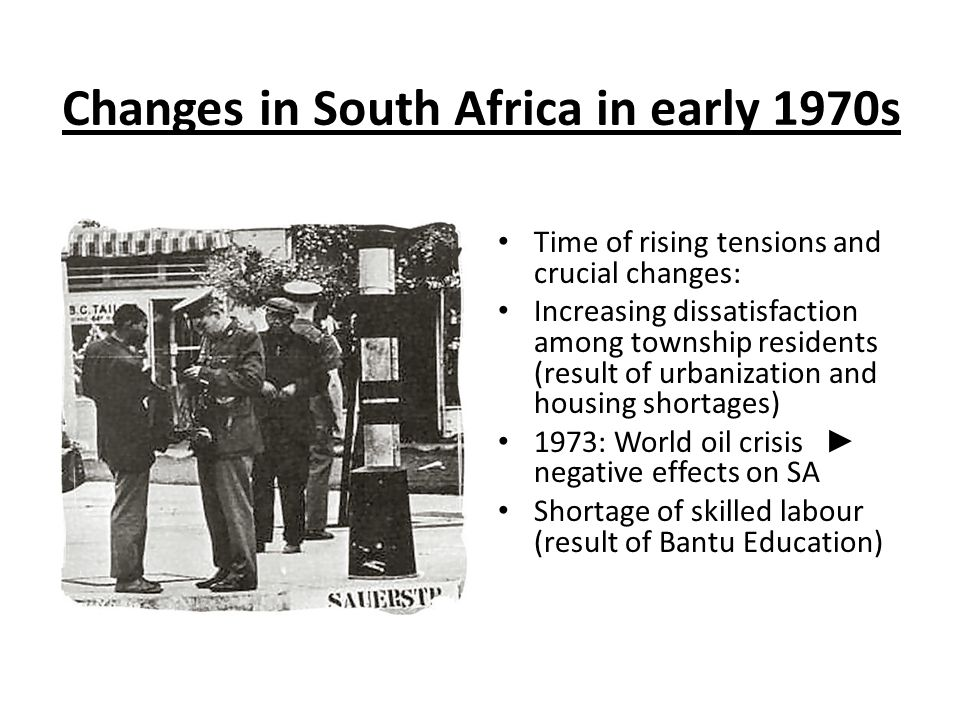 Changes in South Africa in early 1970s
