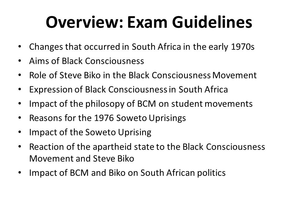 Overview: Exam Guidelines