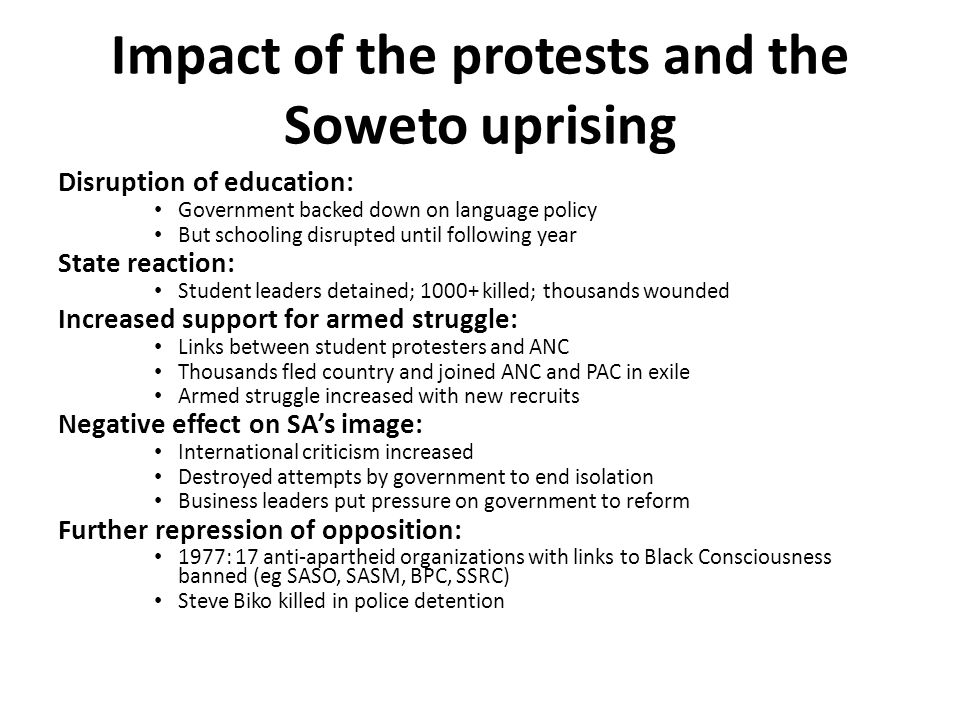 Impact of the protests and the Soweto uprising