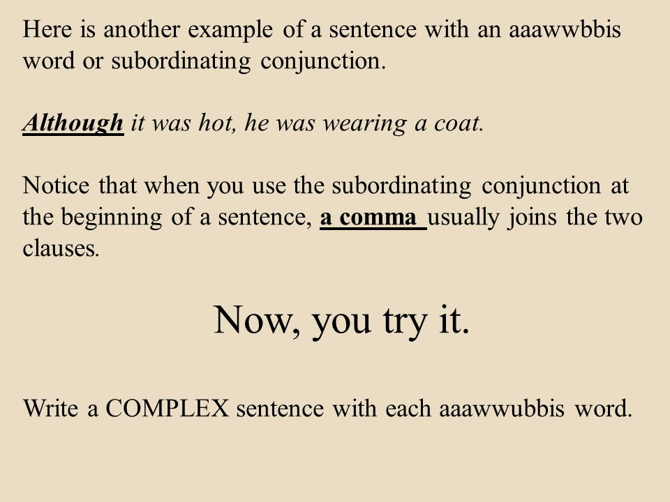Writing COMPLEX sentences instead of only writing SIMPLE sentences ...