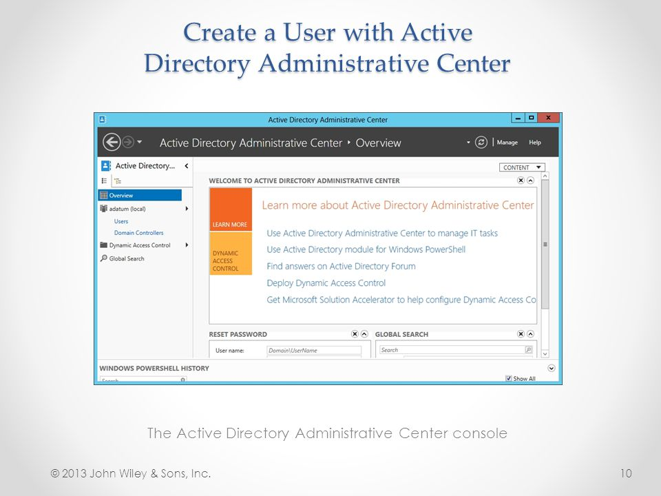 Lesson 14 creating and managing active directory users and computers ppt video online download - Console active directory ...