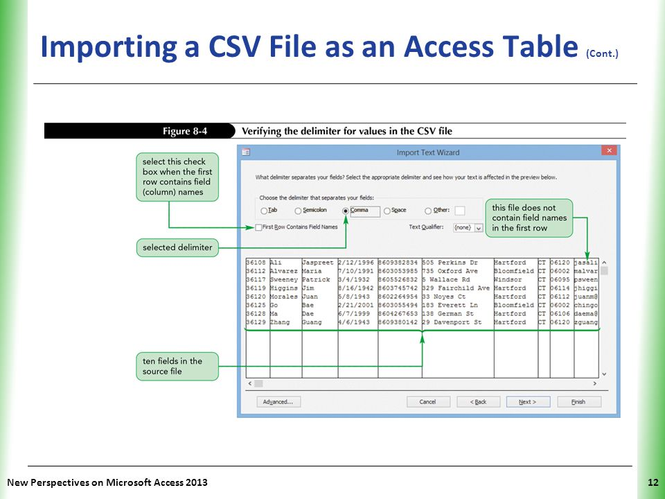 Importing a CSV File as an Access Table (Cont.)