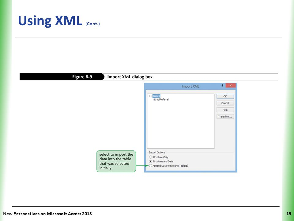 Using XML (Cont.) New Perspectives on Microsoft Access 2013