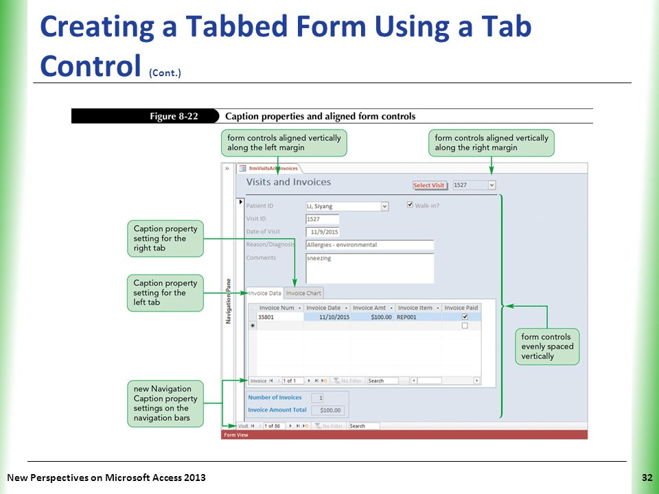Creating a Tabbed Form Using a Tab Control (Cont.)