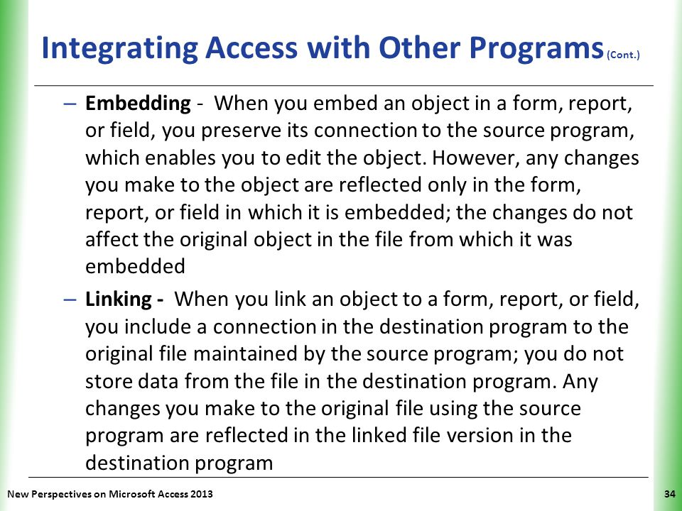 Integrating Access with Other Programs (Cont.)
