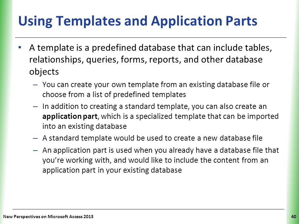 Using Templates and Application Parts