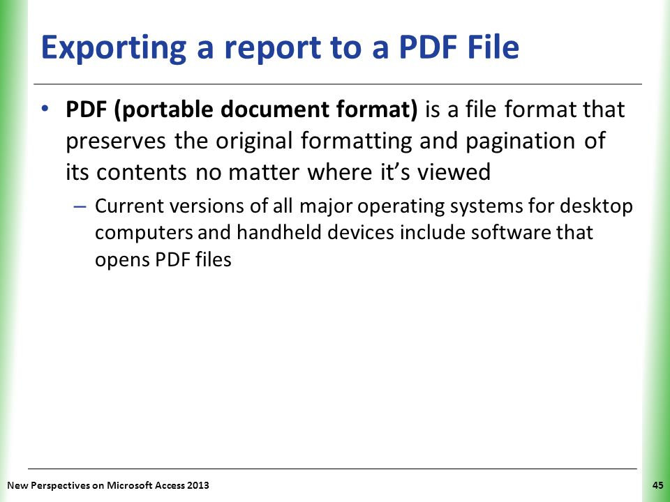 Exporting a report to a PDF File