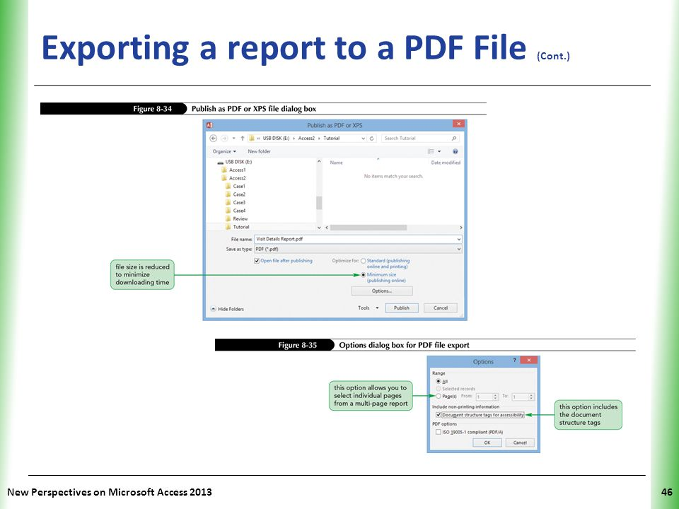 Exporting a report to a PDF File (Cont.)