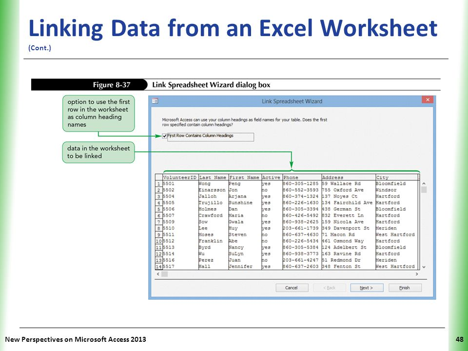 Linking Data from an Excel Worksheet (Cont.)