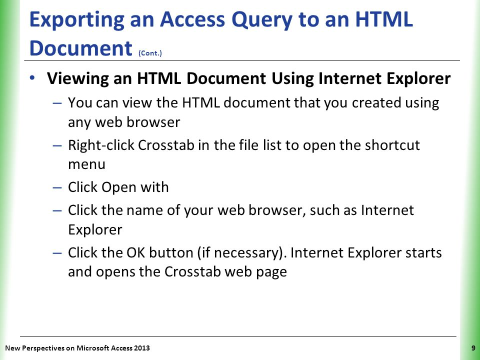 Exporting an Access Query to an HTML Document (Cont.)