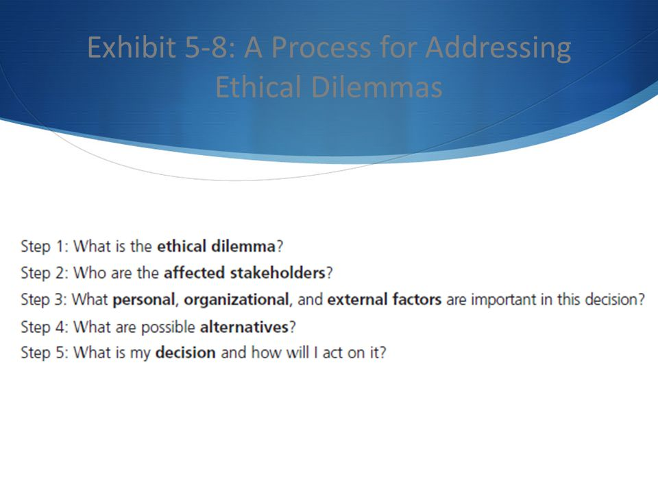 Exhibit 5-8: A Process for Addressing Ethical Dilemmas
