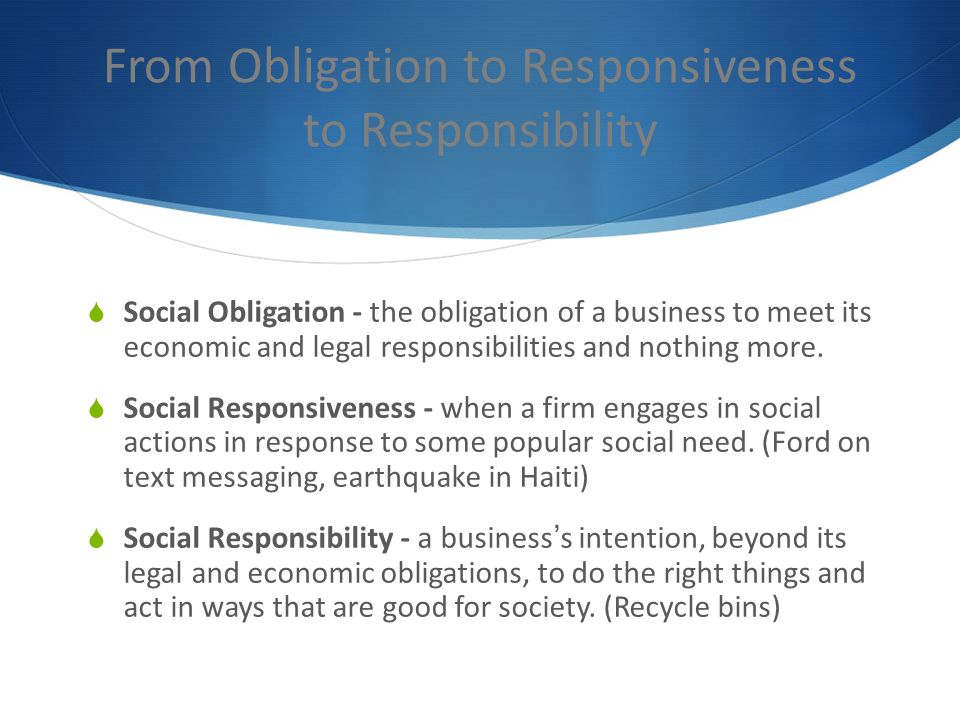 From Obligation to Responsiveness to Responsibility