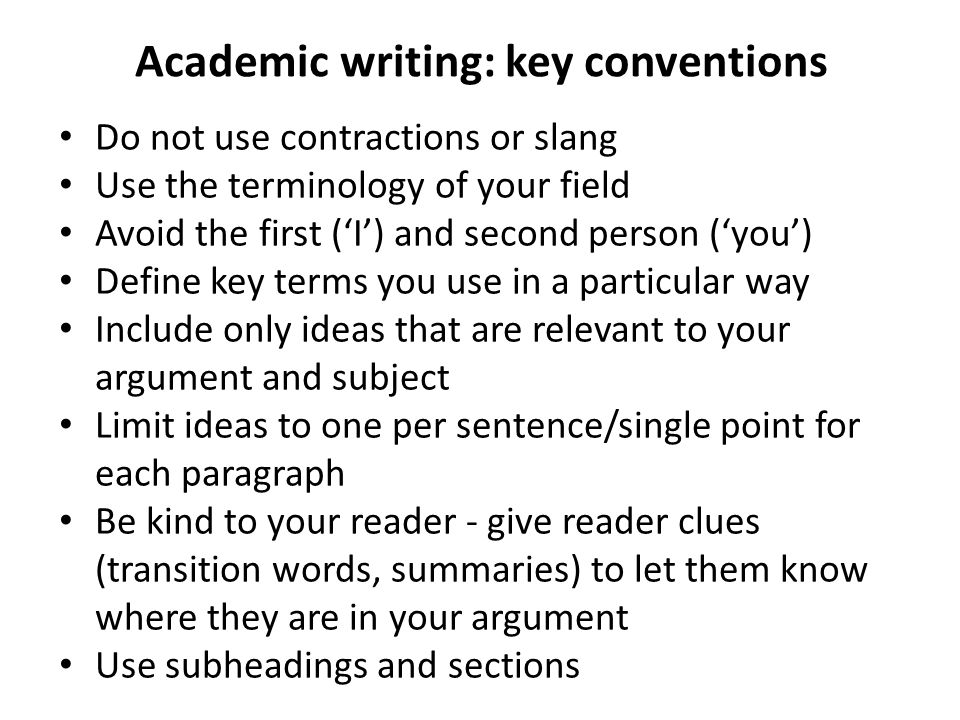 the conventions of academic writing
