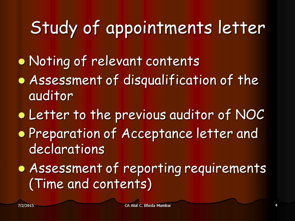 Format Of Noc Letter From Previous Auditor. Study of appointments letter SEMINAR ON STATUTORY AUDIT OF BANK BRANCHES  ppt video online