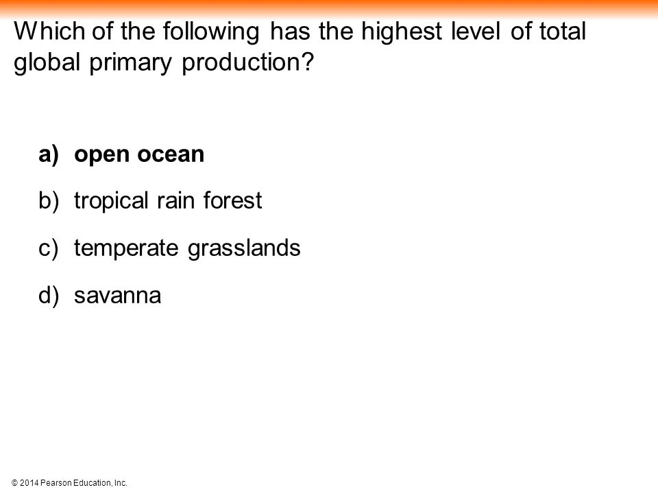 Which of the following has the highest level of total global primary production