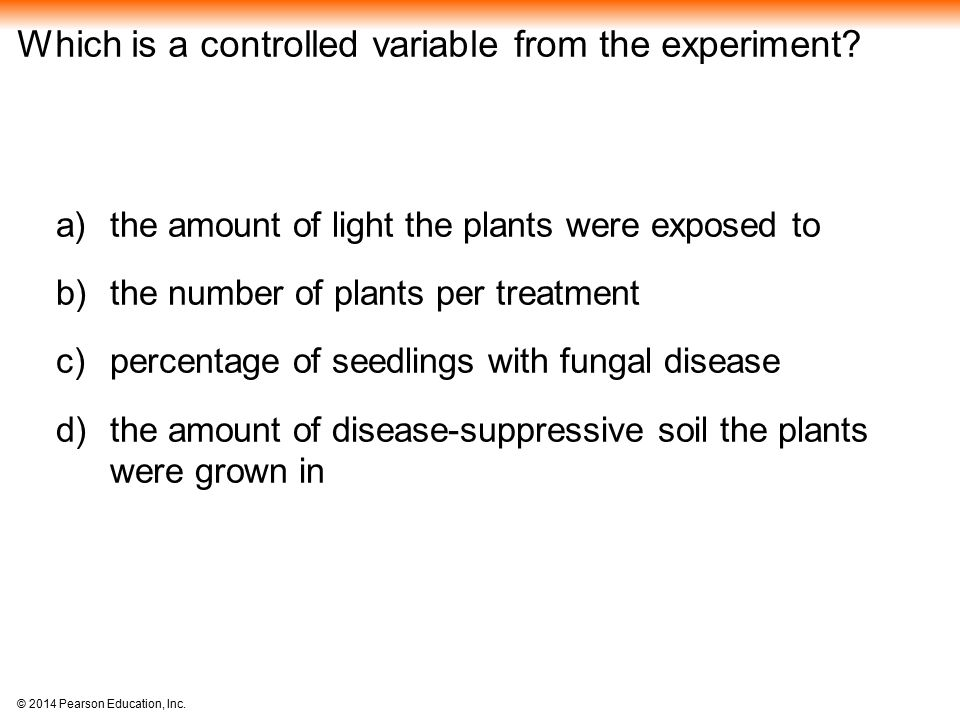 Which is a controlled variable from the experiment