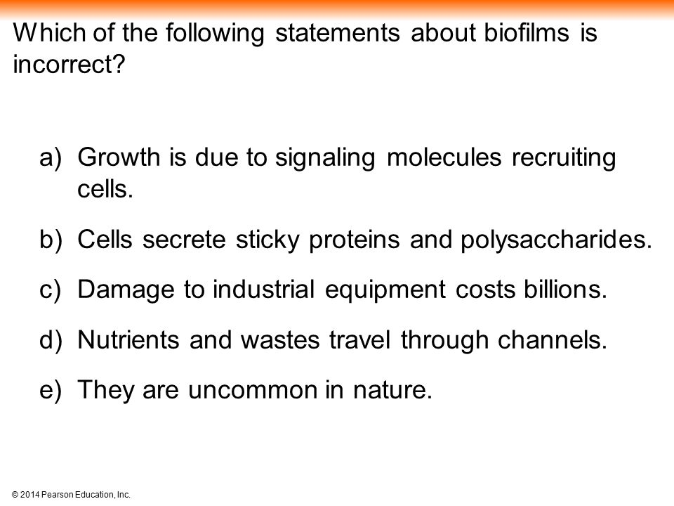 Which of the following statements about biofilms is incorrect