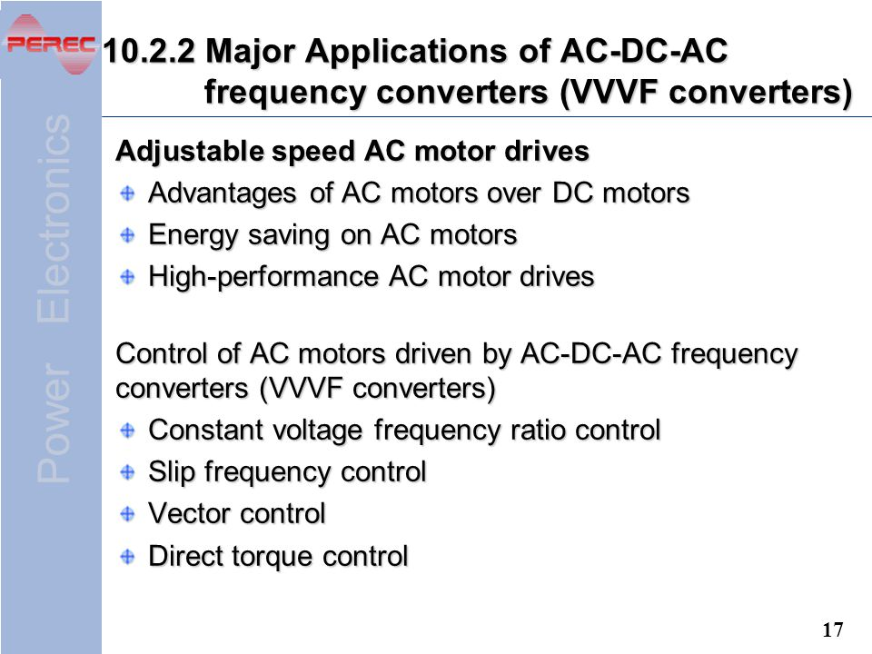Application of power electronics ppt download for Advantages of ac motor