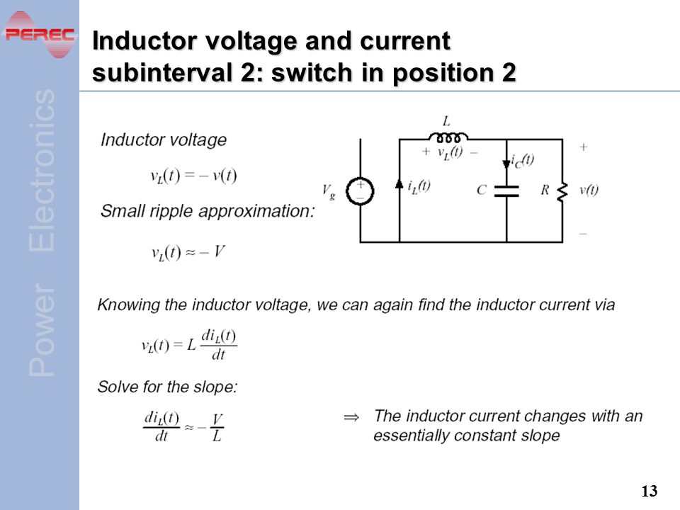Inductor voltage and current subinterval 2: switch in position 2
