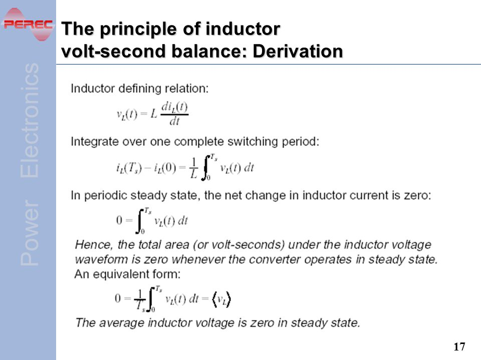 The principle of inductor volt-second balance: Derivation
