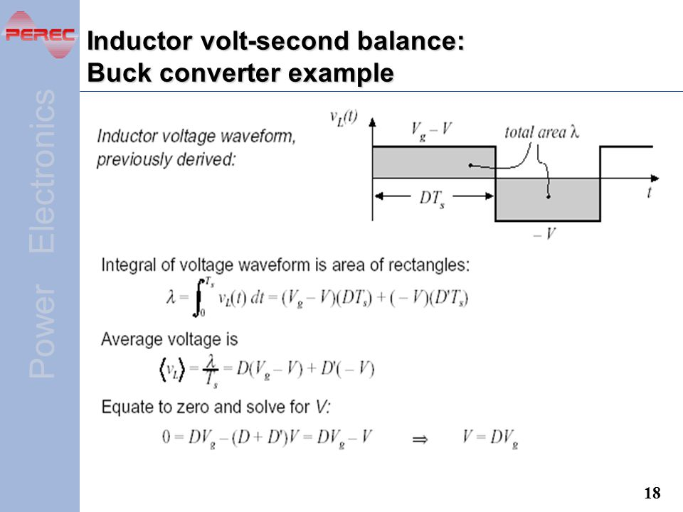 Inductor volt-second balance: Buck converter example