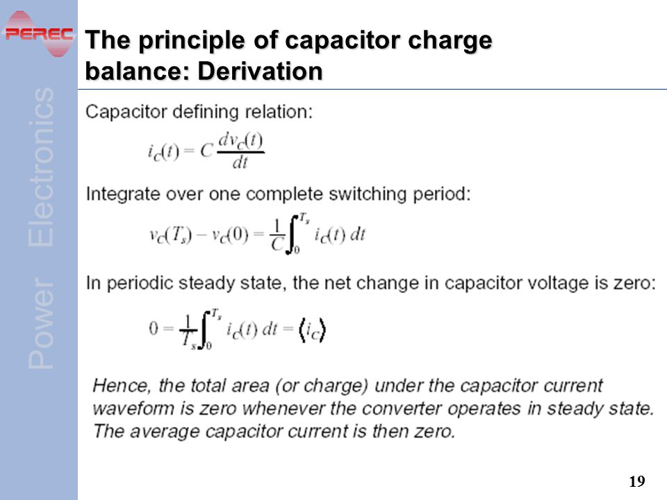 The principle of capacitor charge balance: Derivation