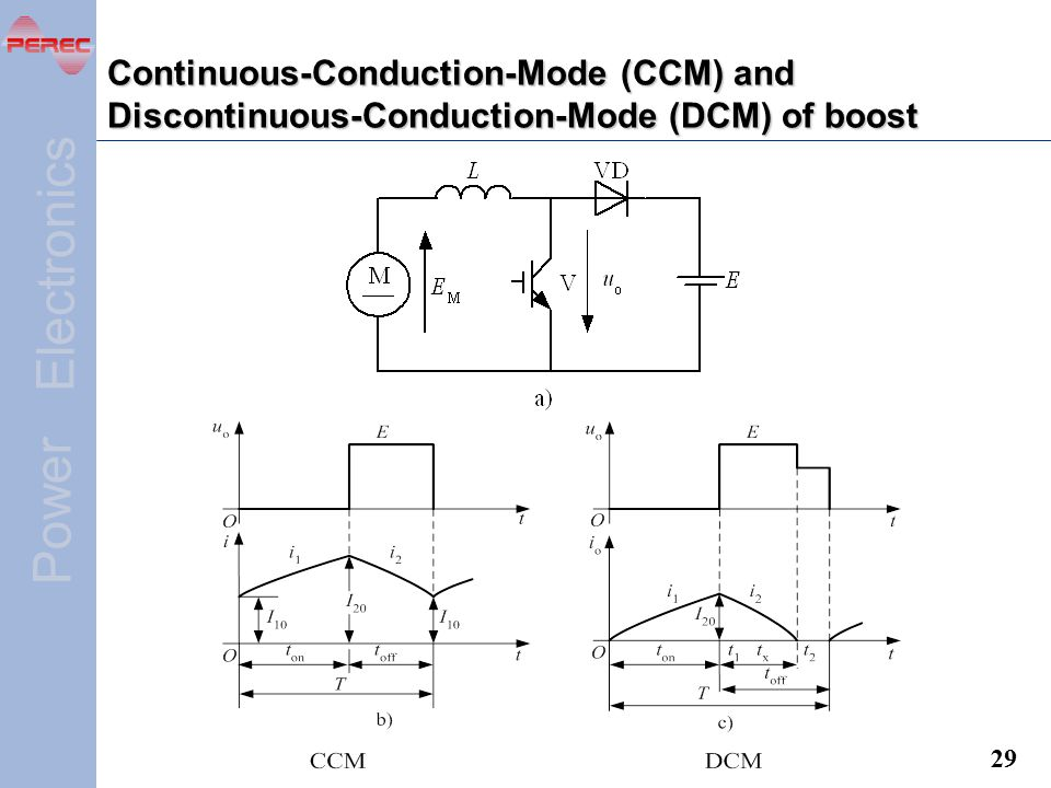 Continuous-Conduction-Mode (CCM) and Discontinuous-Conduction-Mode (DCM) of boost