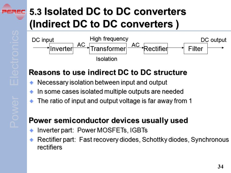 5.3 Isolated DC to DC converters (Indirect DC to DC converters )