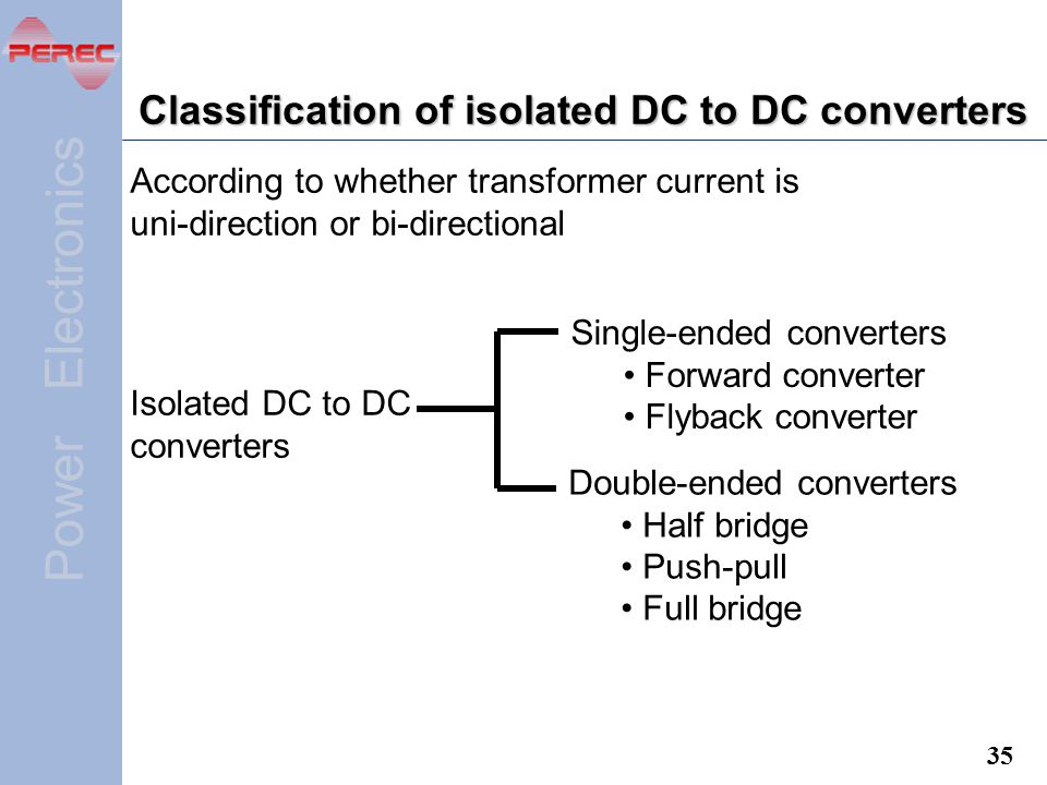 Classification of isolated DC to DC converters