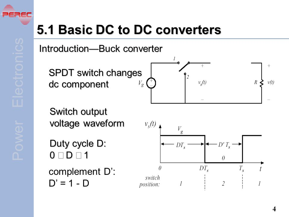 5.1 Basic DC to DC converters