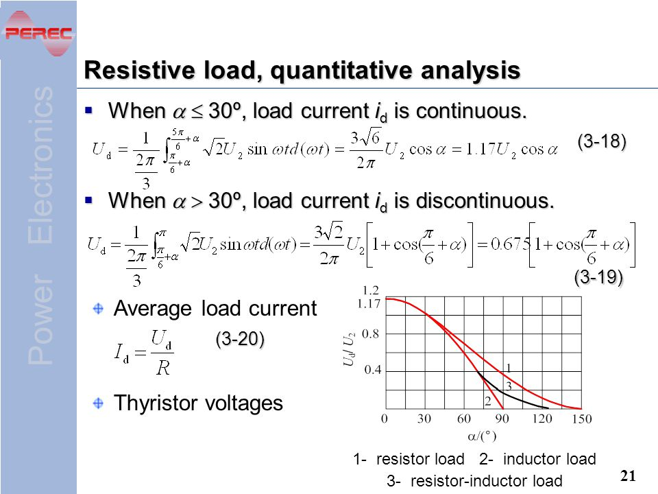 Resistive load, quantitative analysis