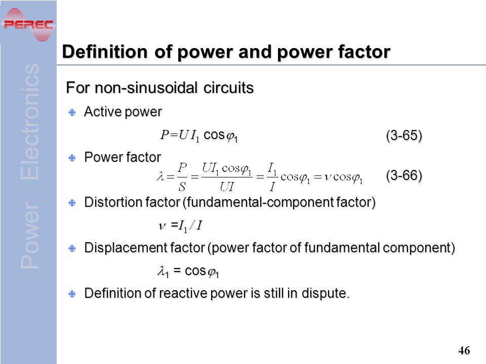 Definition of power and power factor