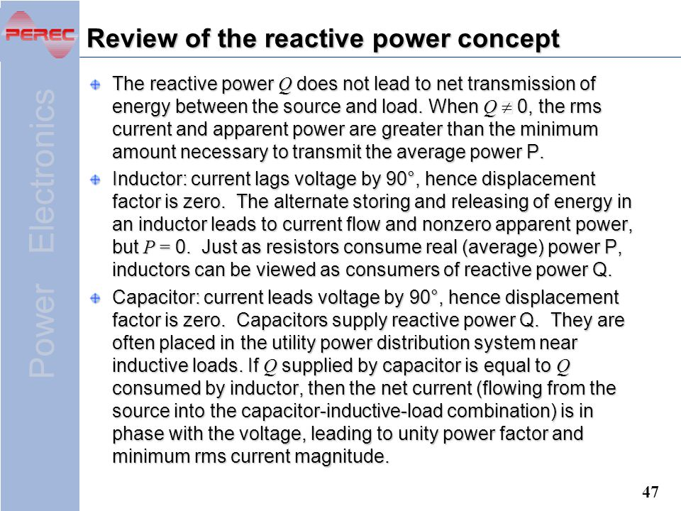Review of the reactive power concept