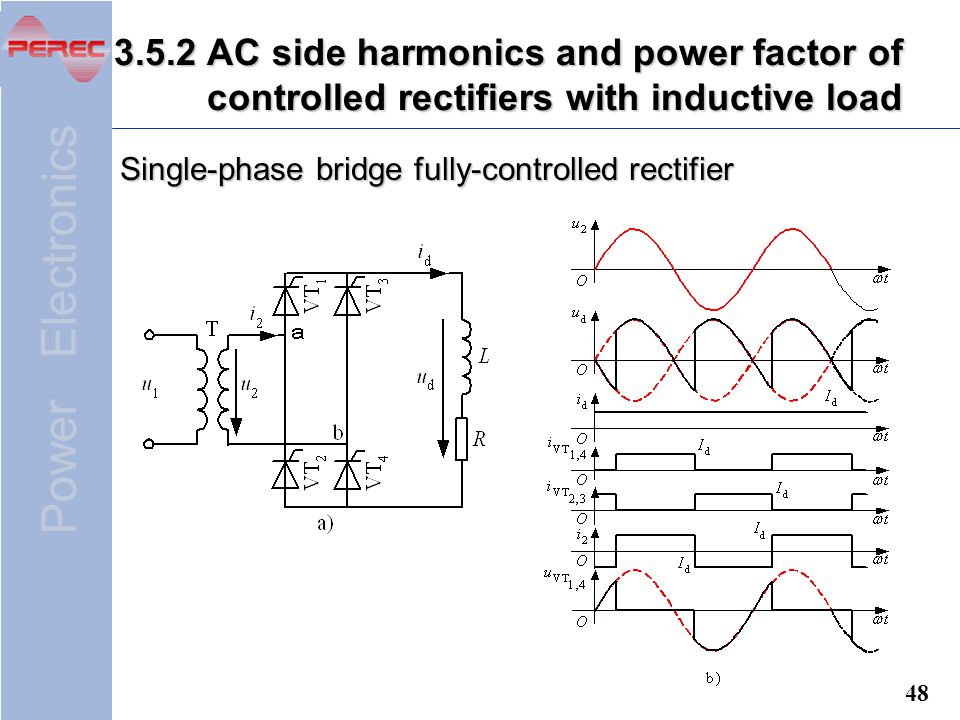3.5.2 AC side harmonics and power factor of controlled rectifiers with inductive load