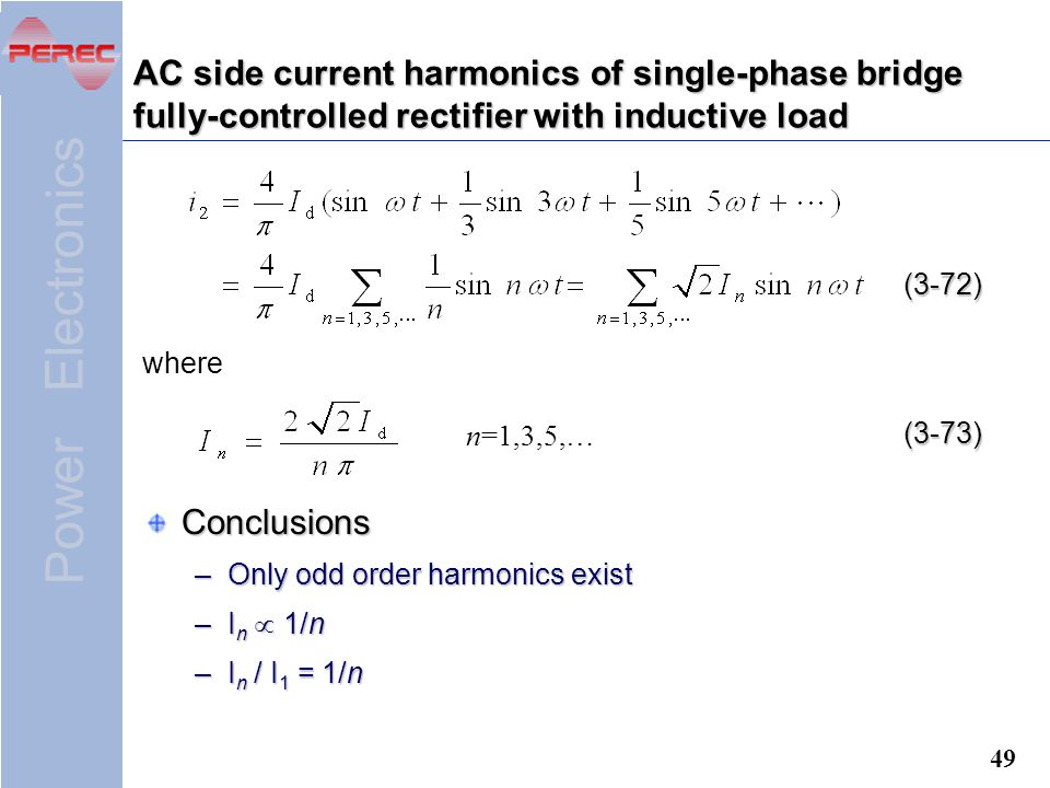AC side current harmonics of single-phase bridge fully-controlled rectifier with inductive load