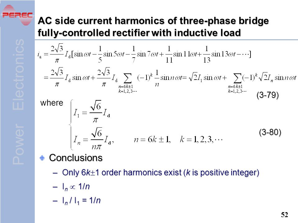AC side current harmonics of three-phase bridge fully-controlled rectifier with inductive load