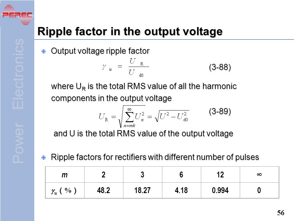 Ripple factor in the output voltage