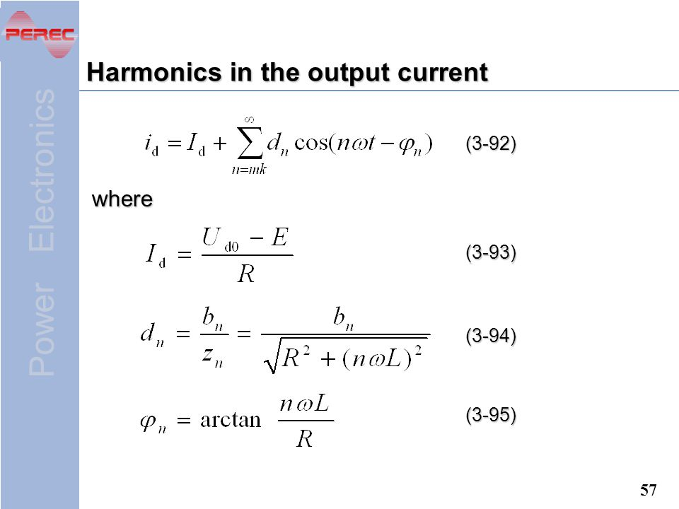 Harmonics in the output current