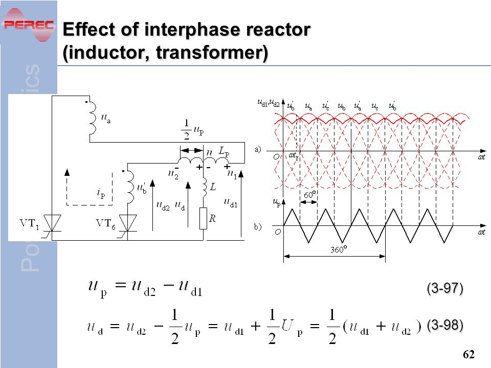 Effect of interphase reactor (inductor, transformer)