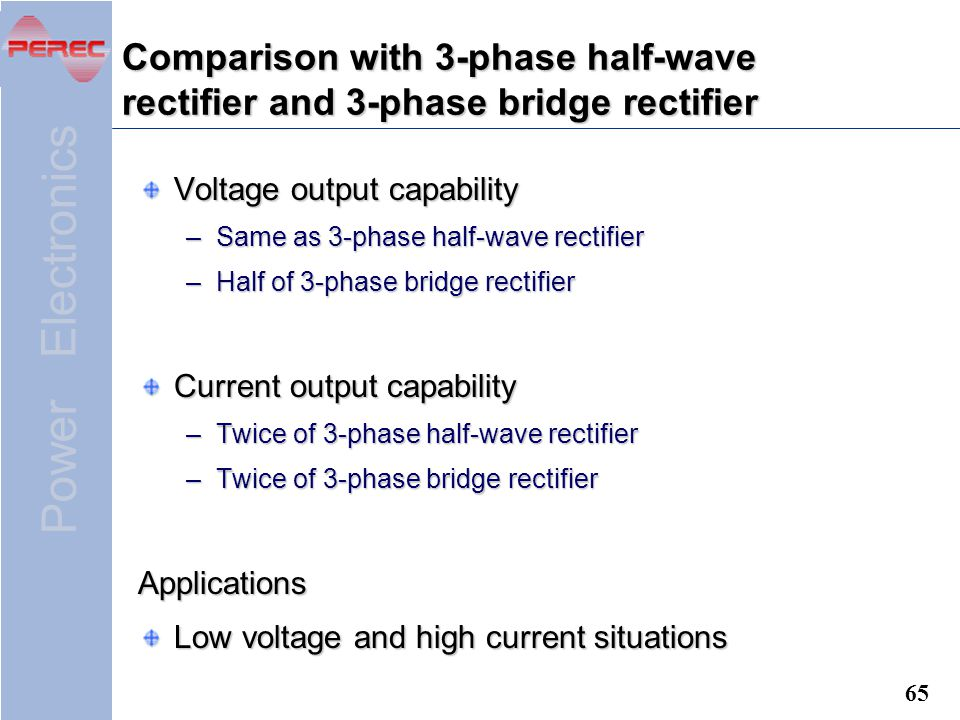 Comparison with 3-phase half-wave rectifier and 3-phase bridge rectifier