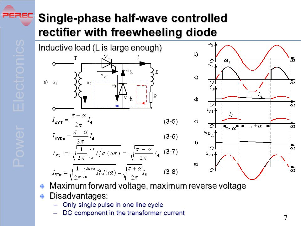 Single-phase half-wave controlled rectifier with freewheeling diode