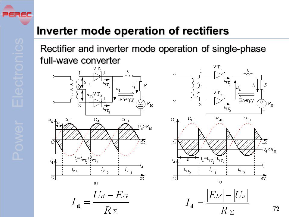 Inverter mode operation of rectifiers